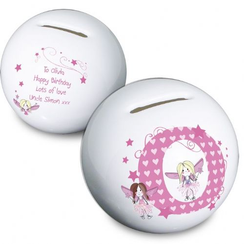Personalised Fairy Letter Pink Money Box